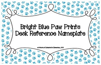 Bright Blue Paw Prints Desk Reference Nameplates
