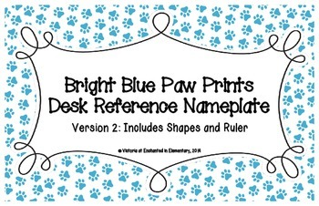 Bright Blue Paw Prints Desk Reference Nameplates Version 2