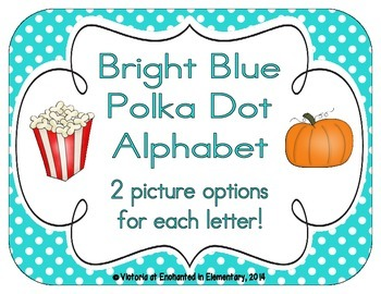 Bright Blue Polka Dot Alphabet Cards