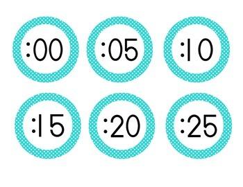 Bright Blue Polka Dot Clock Numbers