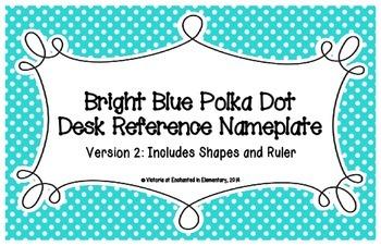 Bright Blue Polka Dot Desk Reference Nameplates Version 2