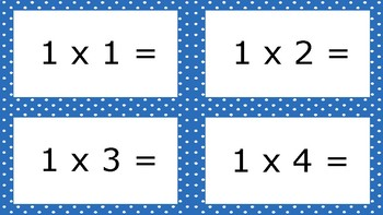 Bright Blue Spotty Times Tables Flash Cards