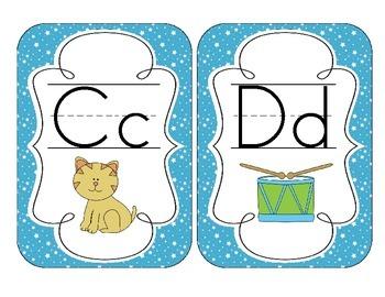 Bright Blue Starry Skies Alphabet Cards