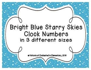 Bright Blue Starry Skies Clock Numbers