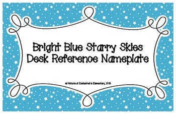 Bright Blue Starry Skies Desk Reference Nameplates