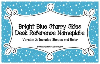 Bright Blue Starry Skies Desk Reference Nameplates Version 2