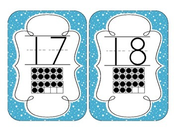 Bright Blue Starry Skies Number Cards 1-20