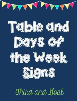 Bright Blue Table Signs and Monday through Friday Labels