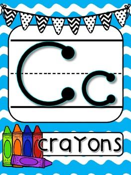 Bright Blue Waves with Black and White bunting Alphabet Line