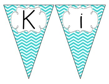 Bright Blue Chevron Welcome Pennant