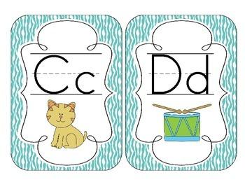 Bright Blue Zebra Print Alphabet Cards