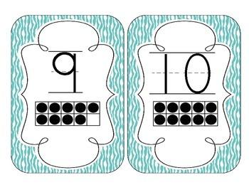 Bright Blue Zebra Print Number Cards 1-20
