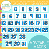 Bright Blue on White Square Number Tile Clip Art - MOVEABLE Images
