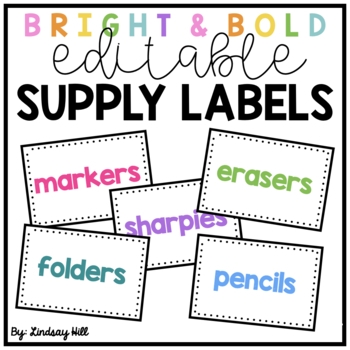 Bright & Bold Classroom Supply Labels