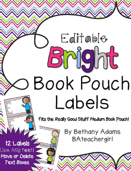 Bright Book Pouch Labels *~Fits Medium Really Good Stuff Book Pouches~*