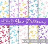 Bright Bows Pattern Digital Paper, Ribbon Pattern, Commercial Use