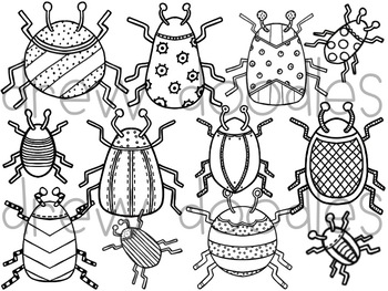 Bright Bugs Digital Clip Art Set- Black Line Version