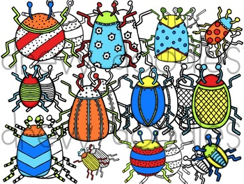 Bright Bugs Digital Clip Art Set- Color and Black Line COMBO