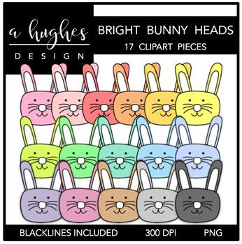 Bright Bunny Heads Clipart {A Hughes Design}