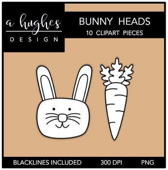 Bunny Heads Clipart {A Hughes Design}