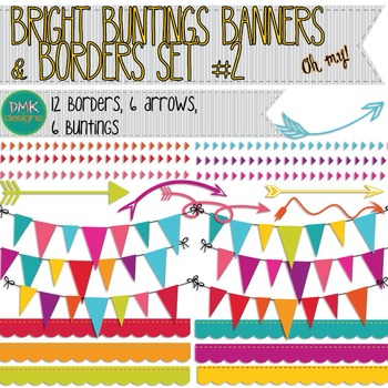 Clipart- Bright Buntings, Banners, and Borders #2
