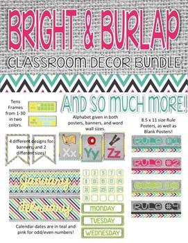 Bright & Burlap Classroom Decor Pack