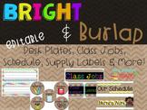 Bright & Burlap Classroom Decor Editable Desk Plates
