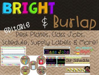 Bright & Burlap Classroom Decor Editable Desk Plates,