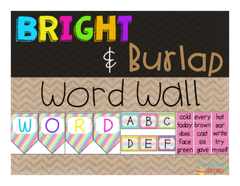 Bright & Burlap Word Wall Fry Words 1-400