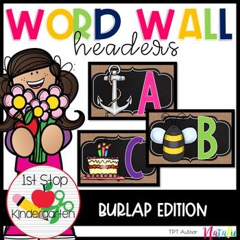 Bright Burlap Word Wall Headers