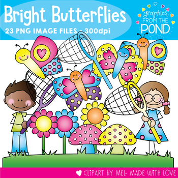 Bright Butterflies - Clipart for Teachers and Teaching