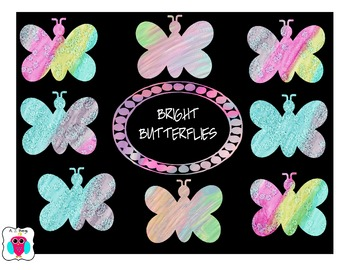 Bright Butterfly Clip Art for Chalkboards - Commercial Use Ok
