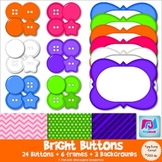Bright Buttons, Frames, & Background Paper Clip Art - Commercial & Personal Use