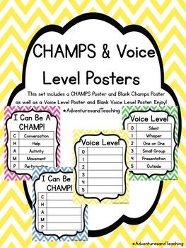 Bright Chevron CHAMPS & Voice Level Posters