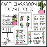Cactus Classroom Decor Editable, Bright Cacti
