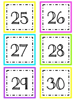 Bright Calendar Numbers