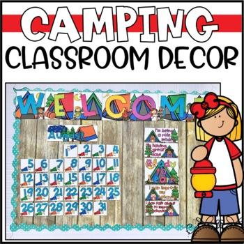 Bright Camping Theme Classroom Decor Bundle - Editable!