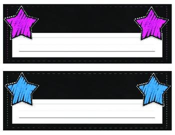 Bright Chalk & Star Name Plates