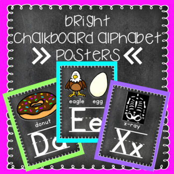 Bright Chalkboard Alphabet Posters