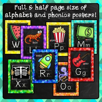 Bright Chalkboard Alphabet Posters, Phonics Posters and Word Wall