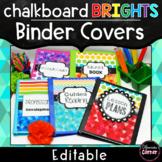 Bright Chalkboard Binder Covers Editable