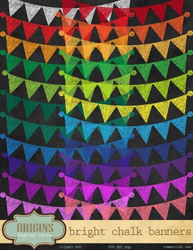 Bright Chalkboard Bunting Banner Clipart