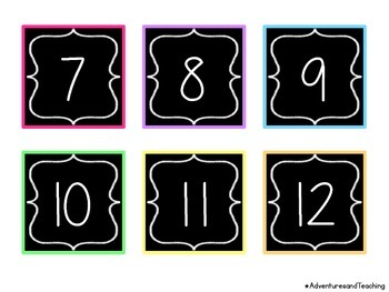 Bright Chalkboard Calendar Numbers