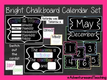 Bright Chalkboard Calendar Set & Birthday Board