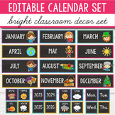 Bright Chalkboard Calendar Set -  Rainbow Classroom Decor