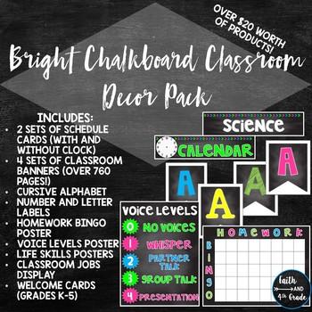 Bright Chalkboard Clasroom Decor Pack