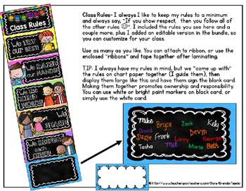 Bright Chalkboard Classroom Rules, Clip Chart & More EDITABLE