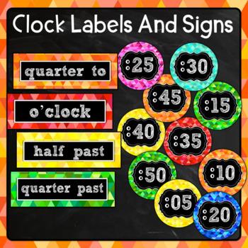 Bright Chalkboard Clock Labels