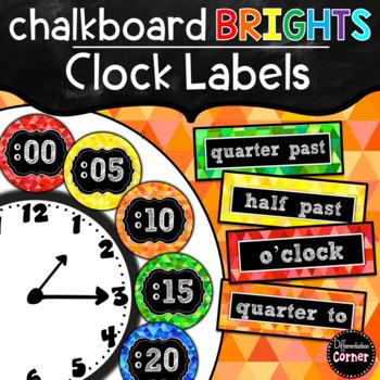 Clock Labels-Chalkboard Brights Classroom Decor