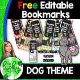 Dog Theme Classroom Decorations   FREE Editable Bookmarks